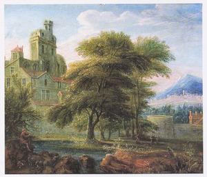 Landschap met een kasteel tussen bomen, links een fluitspelende figuur
