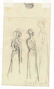 Three standing female figures