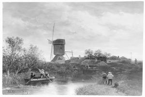 Huizen aan een sluisje met een molen