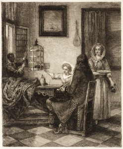 Gezelschap met een zwarte page en een vrouw die een papegaai voert