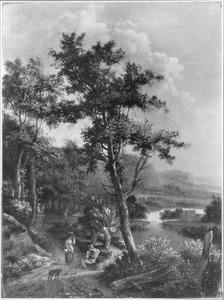 Zuidelijk landschap met twee pratende rezigers