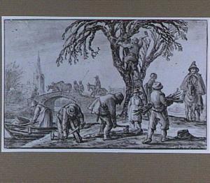 Landschap met houthakkers bij een boom aan de waterkant