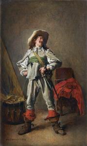 Lachende 17de-eeuwse cavalier