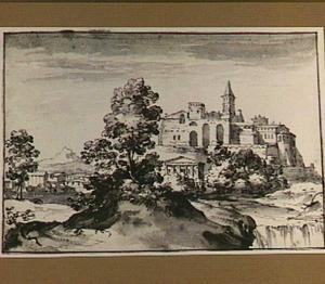 Heuvellandschap met fantasiegezicht op een versterkte stad met Romeinse motieven