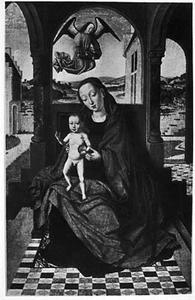 Tronende Maria met kind op een overdekt terras