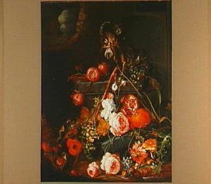Stilleven van bloemen en vruchten in een ruine