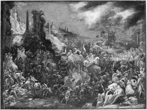 Koning Ptolemeüs IV Philopator tracht de joden de verdelgen middels dronken olifanten: de joden bidden om uitkomst en worden door twee engelen gered (3 Makk. 5:30-35 en 6:1-19)