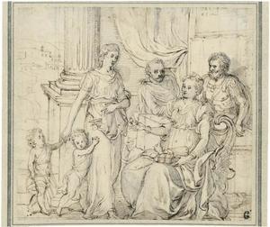 Cornelia moeder der Gracchen toont haar zonen als haar kostbaarste bezit