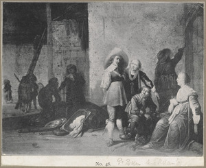 Interieur van een wachtlokaal met soldaten en jonge vrouwen die de buit bekijken