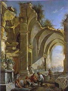 Landschap met kaartende mannen in een ruïne van een Romeins badhuis