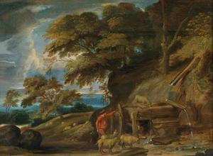 Boslandschap met een herder en schapen bij een waterloop