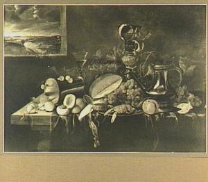 Stilleven van vruchten, siervaatwerk, Jan Steen-kan en kreeft op een tafel; links een doorkijk naar een landschap