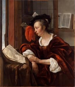 Lezende vrouw bij een open venster