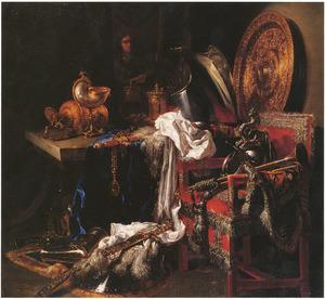 Stilleven met militaria, zilverwerk en spiegelbeeld van de kunstenaar