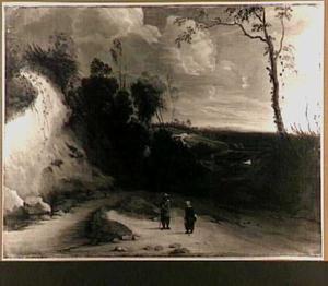 Landschap met wandelaars in een holle weg
