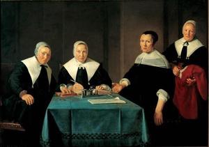 De Regentessen Tryntje Jans, Maertje Willems en Marie Teeuwes Veer van het Leprozenhuis in Haarlem met de binnenmoeder