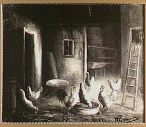 Boerenschuur met kippen