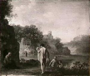 Landschap met badende mannen