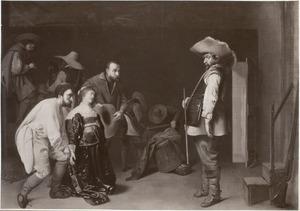 Wachtlokaal met soldaten en een knielende vrouw