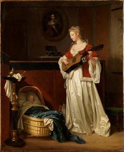 Moeder die kind in slaap sust met muziek