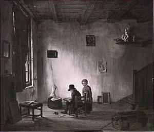 Een kunstenaar werkend in zijn atelier
