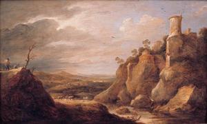 Berglandschap met schaapherders en rechts een toren
