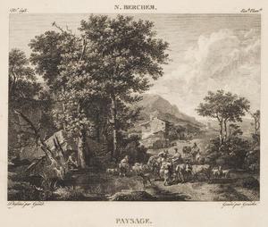 Zuidelijk landschap met herders en hun kudde