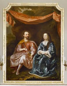 Portret van Arent van Wassenaer (1528-ca.1600), heer van Duivenvoirde en zijn echtgenote Theodora van Scherpenzeel (1554-1622)