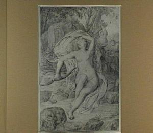 Slapende Diana, met op de achtergrond nimfen en een jachthond