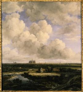 Gezicht op Haarlem met bleekvelden