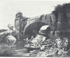 Rivierlandschap met aanlegplaats bij brug