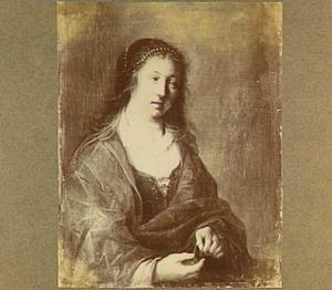Portret van een jonge vrouw met gouden munten