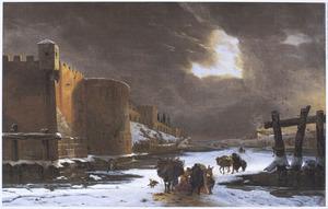 Winterlandschap met reizigers buiten de muren van een stad