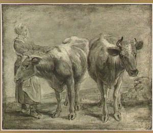 Studie van twee koeien met een boerin