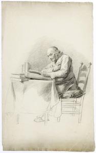 Zittende, lezende oude man