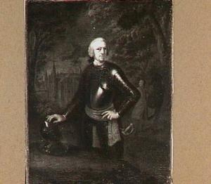 Portret van Jan Maximiliaan, baron van Tuyll van Serooskerken (1710-1762) met op de achtergrond slot Zuylen