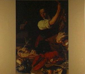 Keukenmeid in een interieur met vlees, vis en andere etenswaren