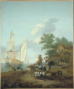 Een kustgezicht met herders en vee, schepen op de achtergrond