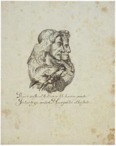 Portret van de gebroeders de Witt, gecombineerd met een wolf en een vos