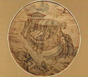 De terugkeer van de duif met een tak naar de ark van Noach (Genesis 8:6)