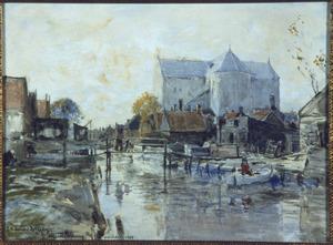 Gezicht op de achterzijde van de Sint Vincentiuskerk en omgeving te Volendam