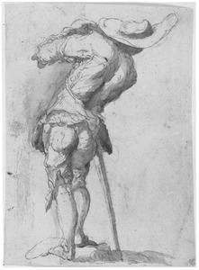 Soldaat van achteren gezien, met grote hoed