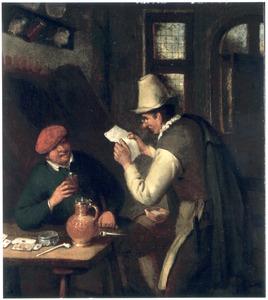 Lezende en drinkende boer in een kroeg