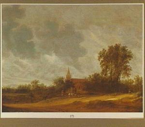 Duinlandschap met herders; in de achtergrond een een kerk