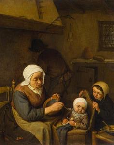 Oude vrouw voert een kind, in gezelschap van een tweede kind en een man