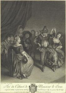 Dansend koppel en drinkende boeren in interieur