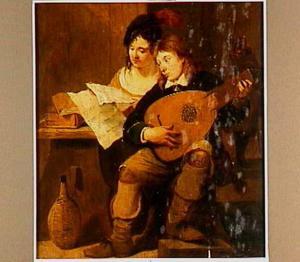 Interieur met luit spelende man en muziek lezende vrouw