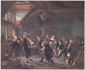 Dansend boerengezelschap in een herberg op de muziek van een liereman