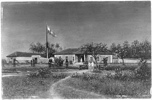 Het huis van Dr. H.P.N. Muller te Quillimani aan de Zambesi in 1881