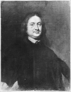 Portret van een man met snor en lang haar